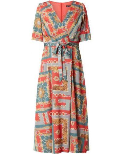 Sukienka wieczorowa rozkloszowana krótki rękaw z dekoltem w serek Paradi