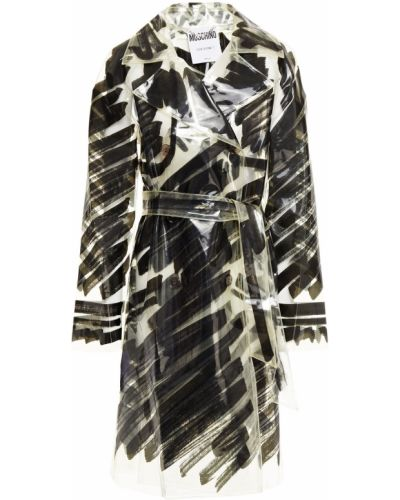 Черное пальто двубортное прозрачное Moschino