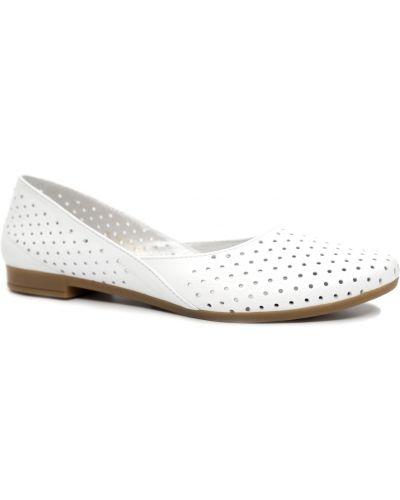 Кожаные балетки - белые Gerda