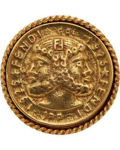Кольцо металлическое - золотое Fendi
