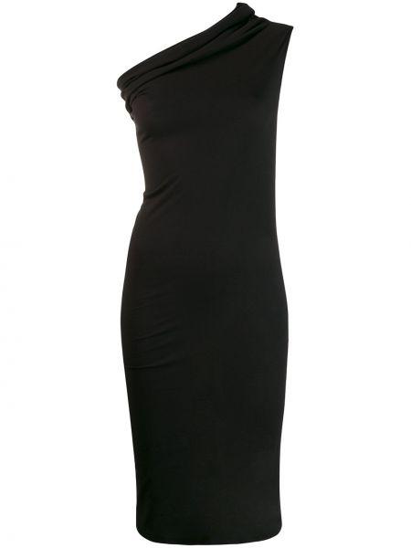 Приталенное черное платье на одно плечо Rick Owens Lilies