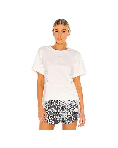 Текстильный белый топ с разрезом Adidas By Stella Mccartney