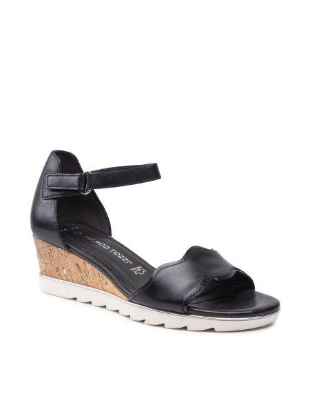Sandały skórzane - czarne Marco Tozzi