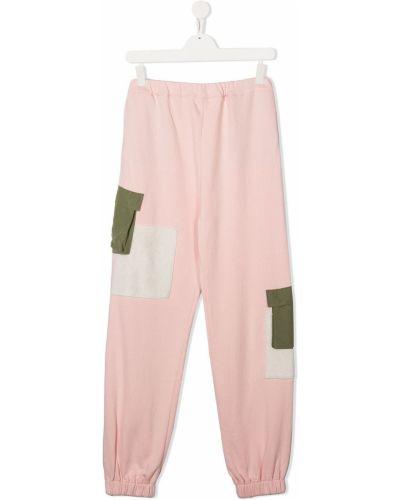 Спортивные розовые нейлоновые брюки с поясом Owa Yurika