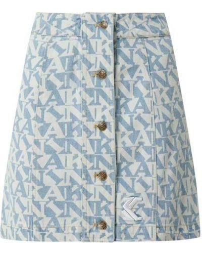 Niebieska spódnica mini rozkloszowana bawełniana Karl Kani