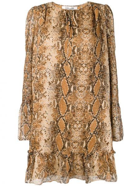 Шелковое платье с оборками с вырезом с завязками Dvf Diane Von Furstenberg