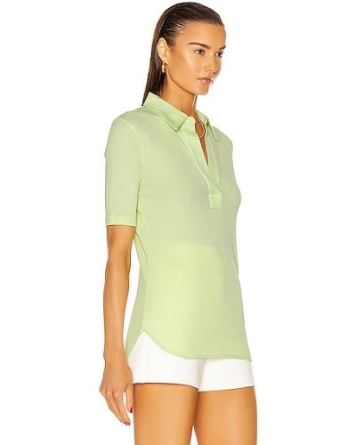 Zielony top bawełniany z haftem Helmut Lang