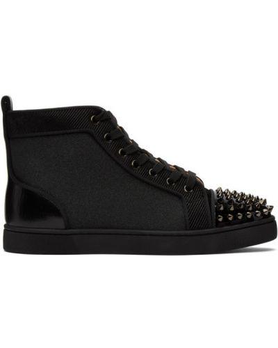 Ażurowy skórzany czarny wysoki sneakersy zasznurować Christian Louboutin
