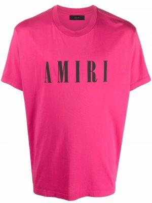 Футболка с принтом - розовая Amiri