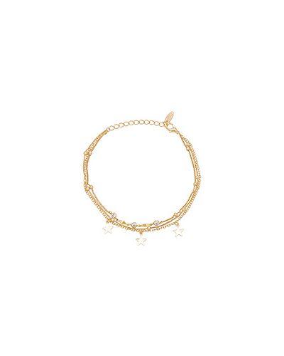 Золотой браслет с подвесками металлический Ettika