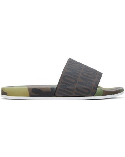 Otwarty z paskiem brezentowy biały sandały Moschino