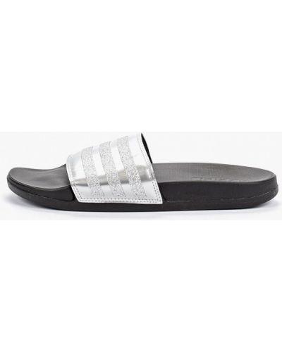 Сланцы серебряный Adidas