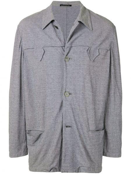 С рукавами серый прямой классический пиджак на пуговицах Yohji Yamamoto Pre-owned