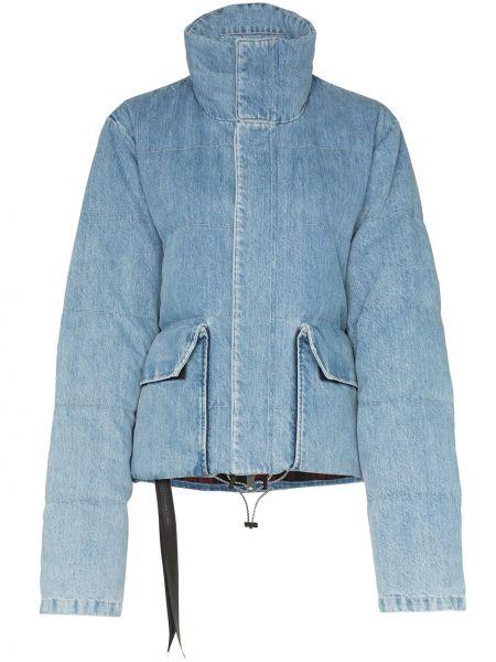 Хлопковый синий пуховик с карманами Unravel Project