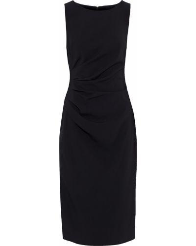 Черное платье миди с оборками на крючках Badgley Mischka