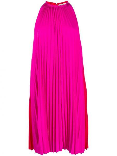 Розовое платье на бретелях до середины колена с воротом халтер Dvf Diane Von Furstenberg