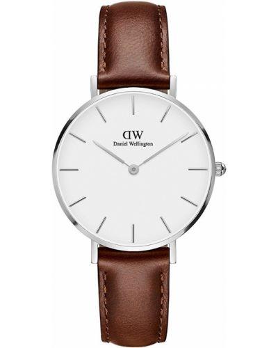 Biały zegarek na skórzanym pasku srebrny kwarc Daniel Wellington