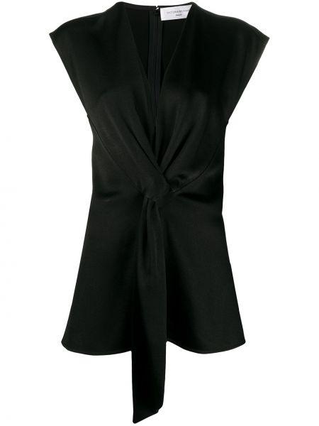 Плиссированный черный топ из вискозы с драпировкой Victoria Beckham