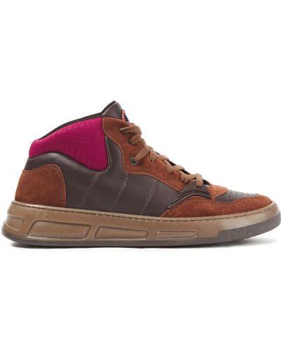 Wysoki sneakersy skorzane sznurowane koronkowe Ganni
