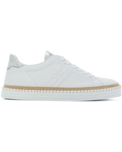 Белые кроссовки с перфорацией Hogan