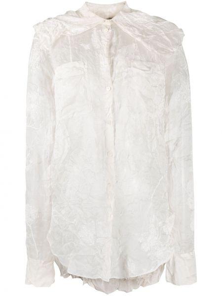 Белая рубашка с воротником с карманами на пуговицах Nina Ricci