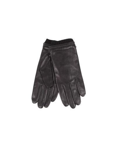 Кожаные перчатки с манжетами шерстяные Agnelle