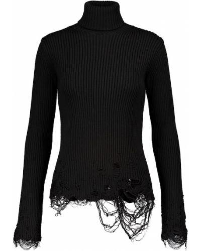 Wełniany czarny sweter rozciągać Balenciaga