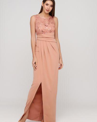 Розовое кружевное вечернее платье с пайетками No Brand