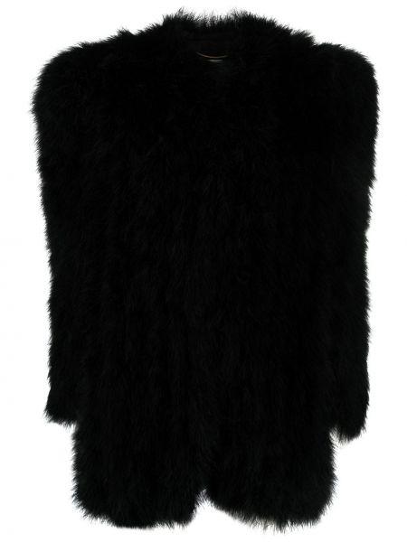 Шелковое черное длинное пальто с подкладкой Saint Laurent