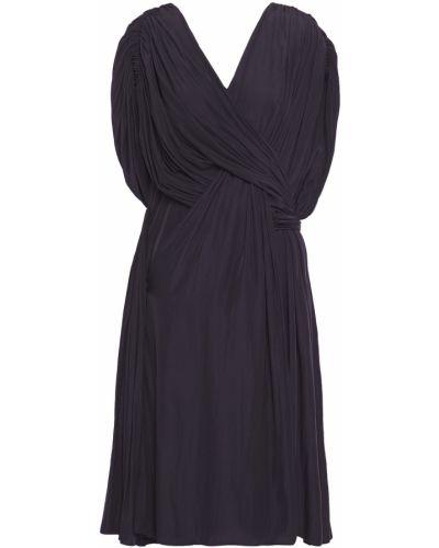 Синее платье с драпировкой с оборками Lanvin