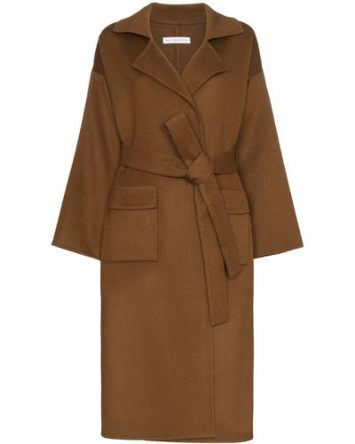 Шерстяное длинное пальто с воротником с поясом Rejina Pyo