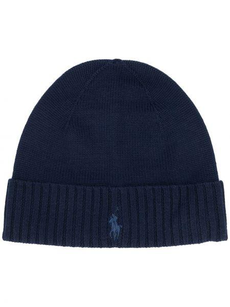 Шерстяная шапка бини - синяя Polo Ralph Lauren