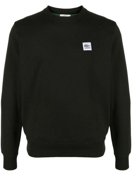 Czarna bluza długa bawełniana z długimi rękawami Lacoste Live