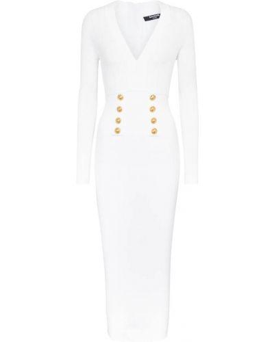 Biała sukienka midi z wiskozy Balmain