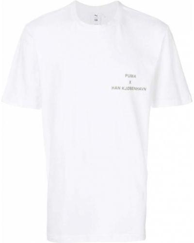 Белая хлопковая футболка с логотипом Puma
