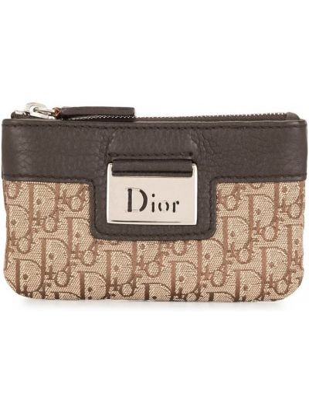 Srebro skórzany portfel na monety Christian Dior