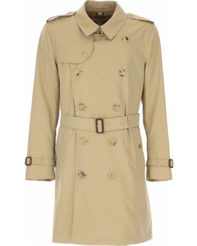 Bawełna beżowy zimowy płaszcz prążkowany z długimi rękawami Burberry