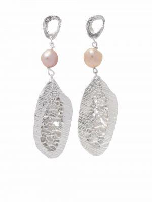 Białe kolczyki srebrne Loveness Lee