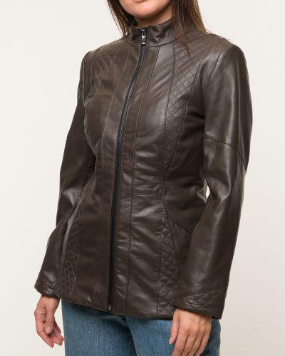Коричневая кожаная куртка с воротником каляев