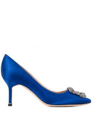 Синие туфли-лодочки с пряжкой без застежки на каблуке Manolo Blahnik