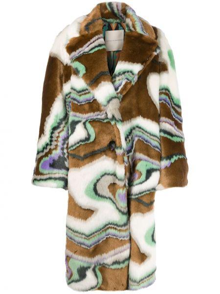Коралловое длинное пальто из искусственного меха с поясом Marco De Vincenzo