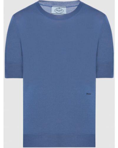 Синий шерстяной свитер Prada