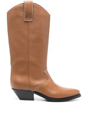 Кожаные коричневые ковбойские сапоги на каблуке P.a.r.o.s.h.