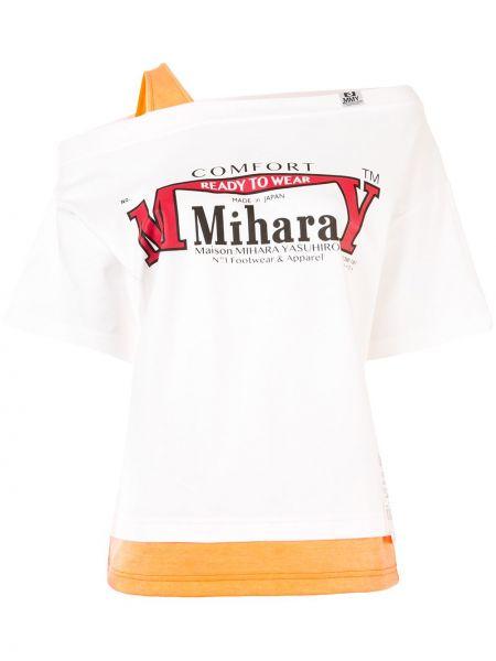 Ватная хлопковая белая рубашка Maison Mihara Yasuhiro