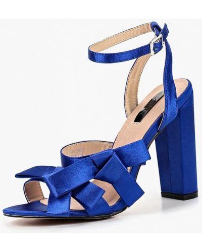 Босоножки на каблуке синий Lost Ink.
