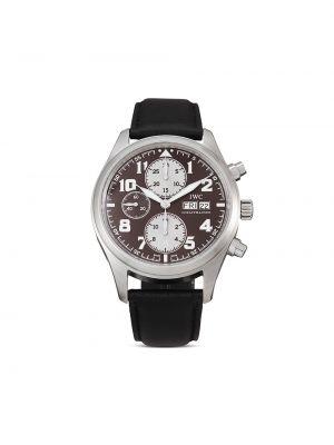 Czarny zegarek na skórzanym pasku srebrny z klamrą Iwc Schaffhausen