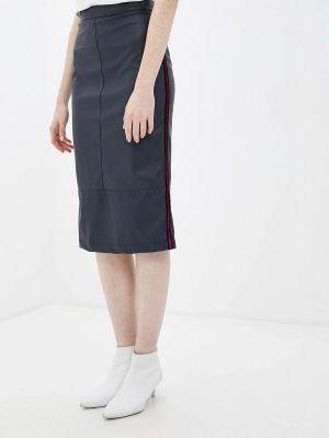 Кожаная юбка синяя Aelite
