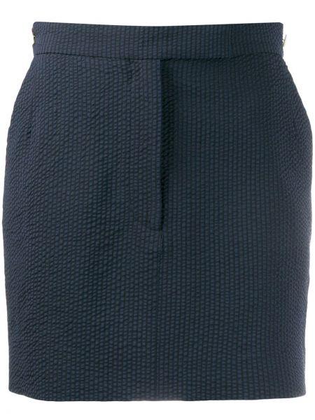 Brązowa spódnica mini z wysokim stanem wełniana Thom Browne