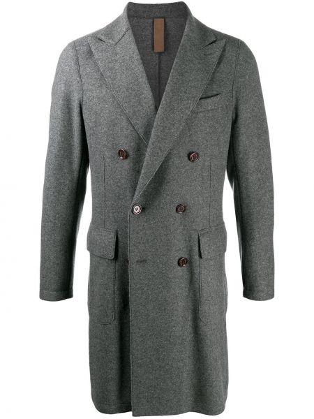 Серое шерстяное длинное пальто на пуговицах Eleventy