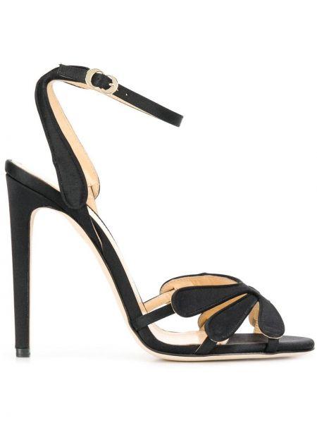 Открытые черные босоножки на высоком каблуке на каблуке с пряжкой Chloe Gosselin